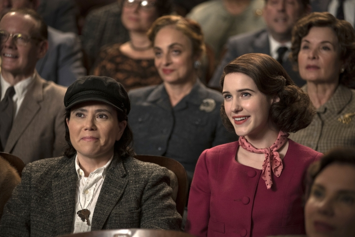 "This image released by Amazon shows Alex Borstein as Susie Myerson, left, and Rachel Brosnahan as Midge Maisel in ""The Marvelous Mrs. Maisel."" (Nicole Rivelli/Amazon via AP)"