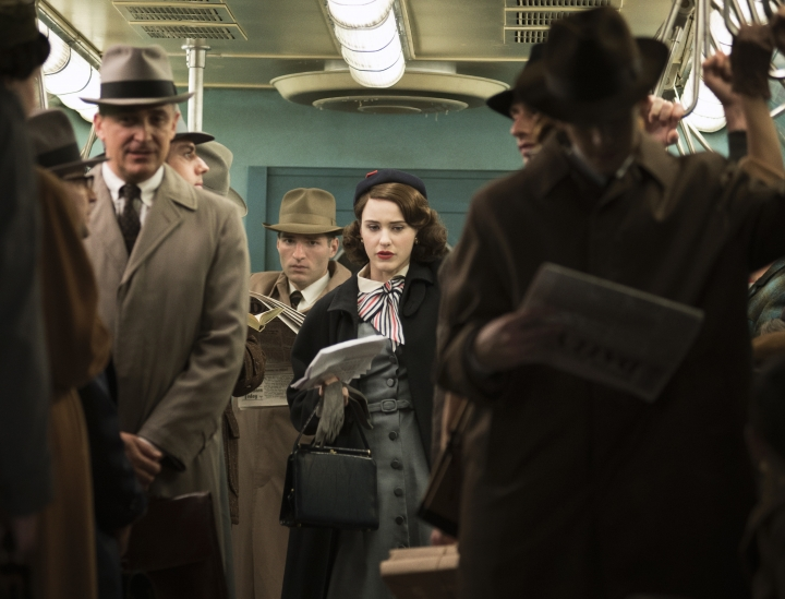 "This image released by Amazon shows Rachel Brosnahan as Midge Maisel in ""The Marvelous Mrs. Maisel."" (Nicole Rivelli/Amazon via AP)"