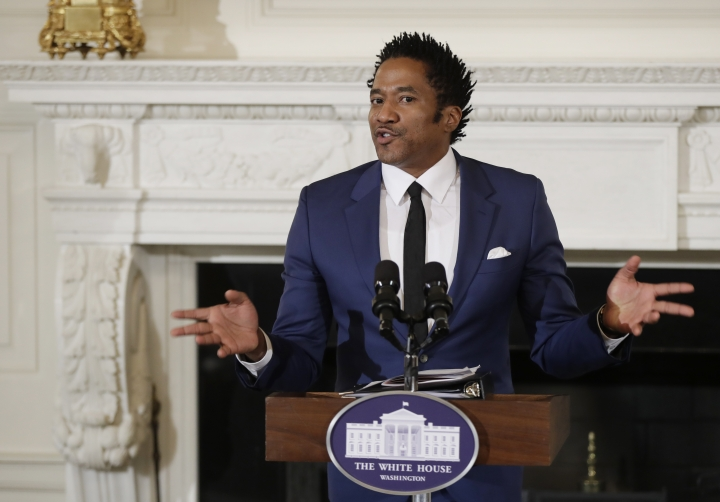 "FILE - In this Sept. 8, 2016 file photo, Kennedy Center's Artistic Director for Hip-Hop Culture, Q-Tip, reads a poetry, during the National Student Poets event, in the State Dining Room of the White House in Washington. Q-Tip of A Tribe Called Quest is blasting the Grammys in an angry video for failing to recognize the band's final album with a nomination. The rapper-producer tells off the organization and calls it ""corny"" in an expletive-filled rant posted Tuesday, Nov. 28, 2017, on Instagram. (AP Photo/Manuel Balce Ceneta, File)"