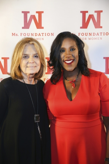 """In this photo provided by Ms. Foundation, Ms. Foundation Founding Mother Gloria Steinem, left, and Ms. Foundation President and CEO Teresa C. Younger attend """"Laughter is the Best Resistance"""" at Carolines on Broadway, Wednesday, Nov. 29, 2017, in New York. Feminist leader Steinem tried her hand at standup comedy, taking the mic at a benefit for the Ms. Foundation for Women at a Manhattan comedy club. (Mark Clennon/Ms. Foundation via AP)"""
