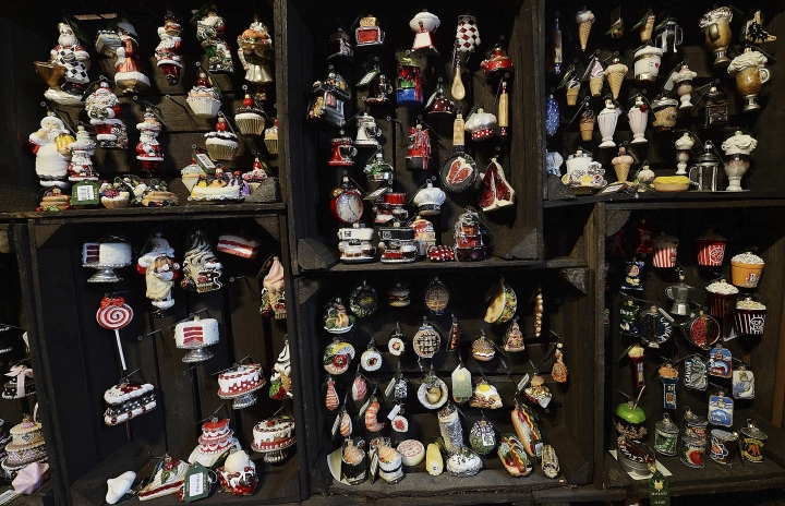 In this Nov. 28, 2017 photo numerous designs of blown-glass Christmas tree decorations are on display at the Silverado manufacture in Jozefow, near Warsaw, Poland. The manufacture sells about one million decorations a year, primarily to the U.S. and Europe. They can be found at the White House. (AP Photo/Czarek Sokolowski)