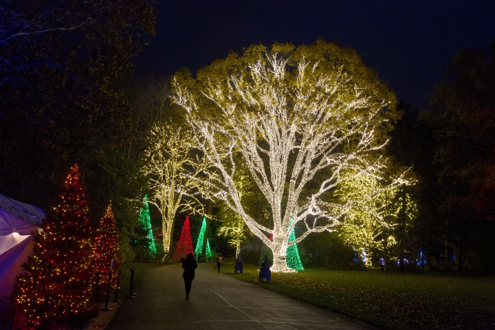 In this Nov. 16, 2017 photo, patrons walk through the Winterlights holiday light display on the Newfields museum's grounds in Indianapolis. (AP Photo/Michael Conroy)