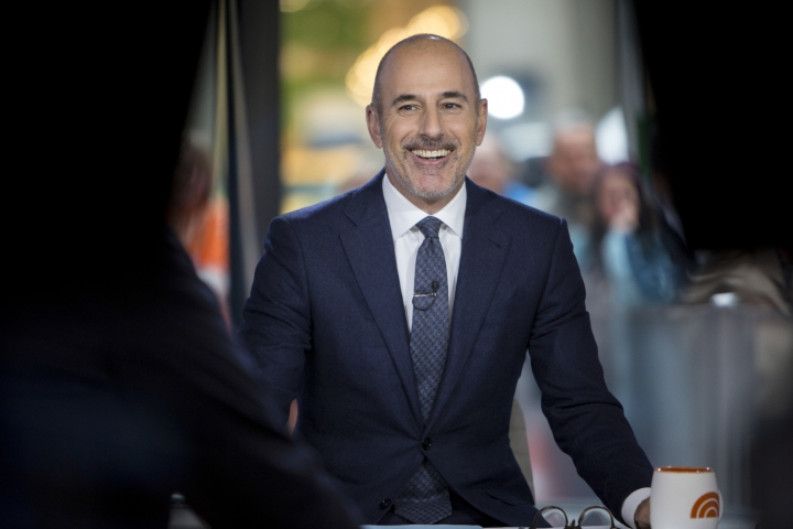 """This Nov. 16, 2017 photo released by NBC shows Matt Lauer during a broadcast of the """"Today,"""" show in New York. NBC News fired the longtime host for """"inappropriate sexual behavior."""" Lauer's co-host Savannah Guthrie made the announcement at the top of Wednesday's """"Today"""" show. ( Zach Pagano/NBC via AP)"""