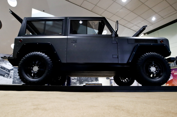 The 2019 Bollinger Motors electric SUV is displayed during the Los Angeles Auto Show, Thursday, Nov. 30, 2017, in Los Angeles. (AP Photo/Chris Carlson)