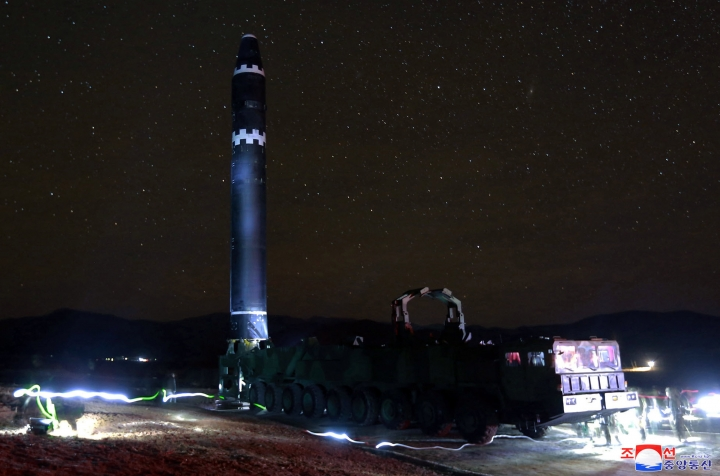"""This Nov. 29, 2017, image provided by the North Korean government on Thursday, Nov. 30, 2017, shows what the North Korean government calls the Hwasong-15 intercontinental ballistic missile, in North Korea. Independent journalists were not given access to cover the event depicted in this image distributed by the North Korean government. The content of this image is as provided and cannot be independently verified. Korean language watermark on image as provided by source reads: """"KCNA"""" which is the abbreviation for Korean Central News Agency. (Korean Central News Agency/Korea News Service via AP)"""