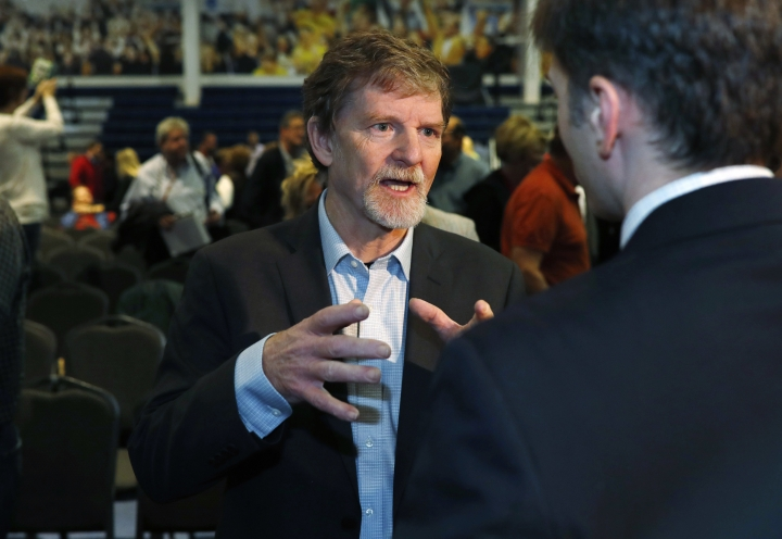 FILE - In this Nov. 8, 2017, file photo, Jack Phillips, owner of Masterpiece Cake, speaks to supporters after a rally on the campus of a Christian college in Lakewood, Colo. The Dec. 5, Supreme Court argument about the baker who refused to make a cake for a same-sex couple makes some civil rights lawyers think of South Carolina's Piggie Park barbecue.(AP Photo/David Zalubowski, File)