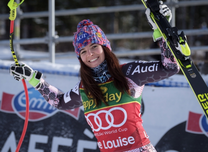 Liechtenstein's Tina Weirather celebrates her victory in the women's World Cup super-G ski race at Lake Louise, Alta., Sunday, Dec. 3, 2017. (Jeff McIntosh/The Canadian Press via AP)