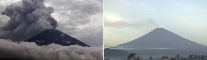 In this combination of images, left: ash clouds rise from Mount Agung volcano erupting in Karangasem, Bali, Indonesia, on Nov. 28, 2017; and right: Mount Agune volcano is seen on Monday, Dec. 4, 2017. Gushing ash from Bali's Mount Agung volcano has dissipated into a wispy plume of steam on Monday, Dec. 4, 2017, and Australian airlines that canceled some flights to the Indonesian resort island on the weekend have returned to near-normal schedules. (AP Photo/Firdia Lisnawati)