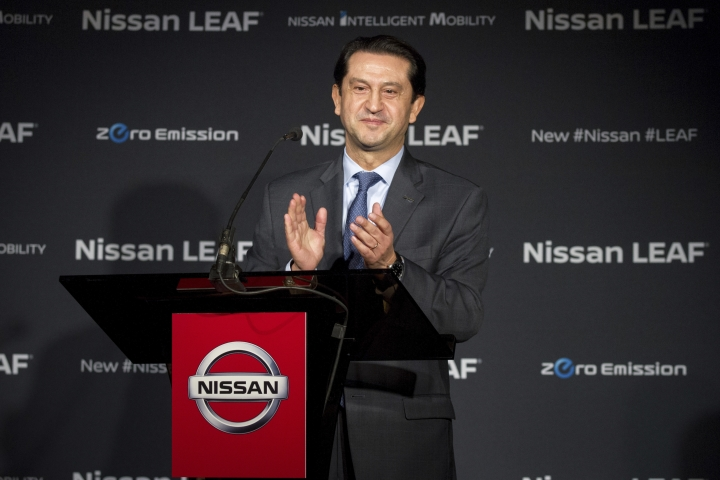 Jose Munoz, the chairman of Nissan North America, presents the first 2018 Nissan Leaf produced at the Japanese automaker's sprawling plant in Smyrna, Tenn., Monday, Dec. 4, 2017. (AP Photo/Erik Schelzig)
