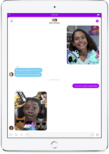 This photo provided by Facebook demonstrates Facebook's new Messenger app for kids on an iPad. Facebook is launching the messaging app for children to chat with their parents and with friends approved by their parents. The free app is aimed at kids under 13, who can't yet have their own accounts under Facebook's rules, though they often do. (Courtesy of Facebook via AP)