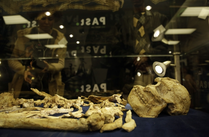 """The virtually complete Australopithecus fossil """"Little Foot"""" is displayed at the University of the Witwatersrand in Johannesburg, South Africa, Wednesday, Dec. 6, 2017. Researchers in South Africa have unveiled what they call """"by far the most complete skeleton of a human ancestor older than 1.5 million years ever found."""" (AP Photo/Themba Hadebe)"""