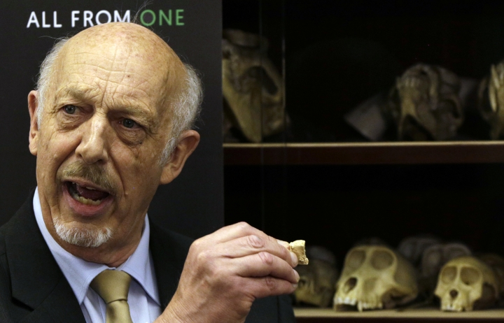 """Ron Clarke, a professor from the Evolutionary Studies Institute at the University of the Witwatersrand, speaks during the unveiling of the virtually complete Australopithecus fossil """"Little Foot"""" in Johannesburg, South Africa, Wednesday, Dec. 6, 2017. Researchers in South Africa have unveiled what they call """"by far the most complete skeleton of a human ancestor older than 1.5 million years ever found."""" (AP Photo/Themba Hadebe)"""