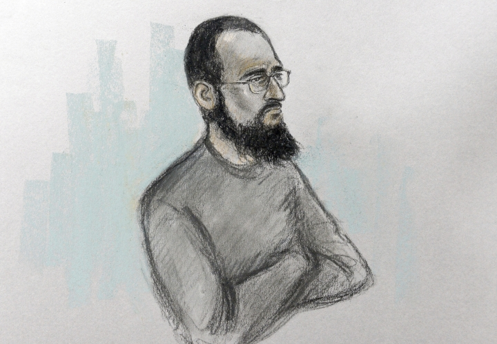 Court artist sketch by Elizabeth Cook of Husnain Rashid in the dock at Westminster Magistrates' Court in London, Wednesday Dec. 6, 2017 where he appeared accused of helping would-be terrorists prepare attacks, including by sharing a photo of Prince George and his school address on social media. (Elizabeth Cook/PA via AP)