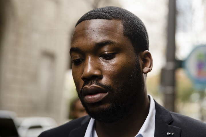 In this Nov. 6, 2017 photo, rapper Meek Mill arrives at the criminal justice center in Philadelphia. Common Pleas Judge Genece Brinkley on Friday, Dec. 1, 2017 denied a motion allow the 30-year-old rapper to be bailed out of a Pennsylvania correctional facility. Mill was sentenced last month to two to four years for violating probation on a roughly decade-old gun and drug case. (AP Photo/Matt Rourke)