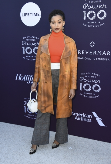 Amandla Stenberg arrives at The Hollywood Reporter's Women in Entertainment Breakfast at Milk Studios on Wednesday, Dec. 6, 2017, in Los Angeles. (Photo by Jordan Strauss/Invision/AP)