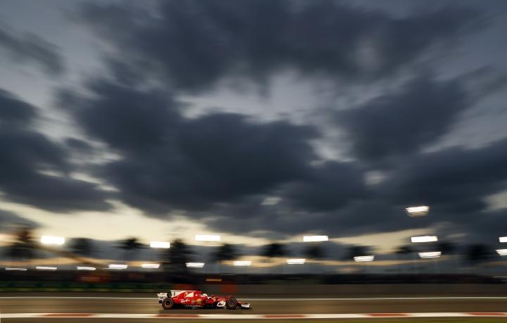 Ferrari driver Sebastian Vettel of Germany steers his car during the Emirates Formula One Grand Prix at the Yas Marina racetrack in Abu Dhabi, United Arab Emirates, Sunday, Nov. 26, 2017. (AP Photo/Hassan Ammar)