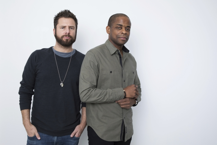 """In this Nov. 27, 2017 photo, actors James Roday, left, and Dule Hill pose for a portrait in New York to promote their TV film, """"Psych: The Movie,"""" debuting Thursday on USA. (Photo by Amy Sussman/Invision/AP)"""