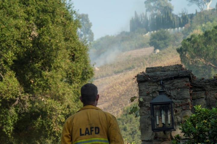 A firefighter stands watch outside of a vineyard owned by Rupert Murdoch damaged by the Skirball fire near the Bel Air neighborhood on the west side of Los Angeles, California, U.S., December 6, 2017.      REUTERS/Andrew Cullen