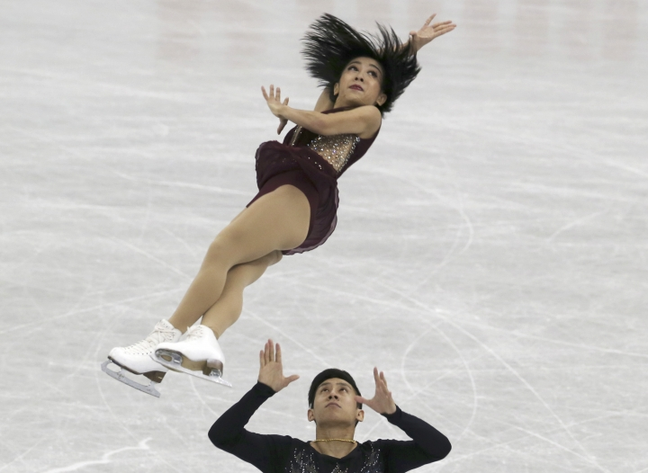 Sui Wenjing and Han Cong of China perform during a Pairs Short Program of the ISU Grand Prix of Figure Skating Final in Nagoya central Japan Thursday, Dec. 7, 2017. (AP Photo/Koji Sasahara)