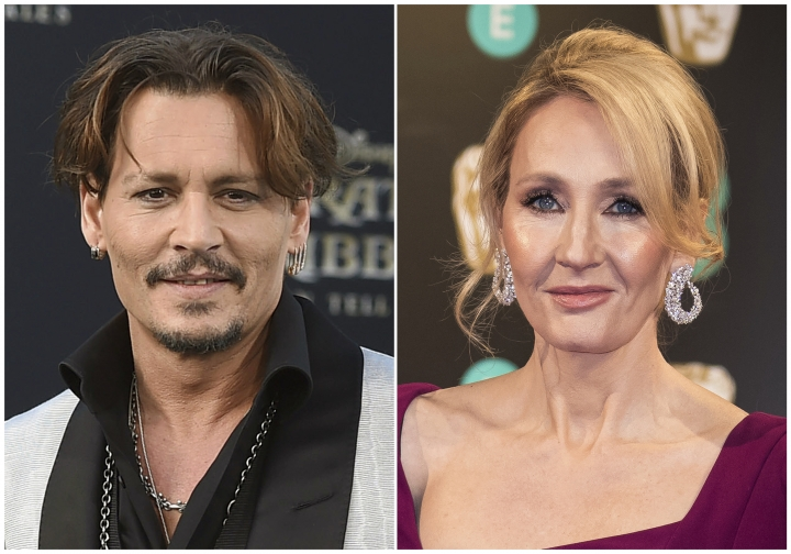 "In this combination photo, Johnny Depp appears at the Los Angeles premiere of ""Pirates of the Caribbean: Dead Men Tell No Tales"" on May 18, 2017, left, and J.K. Rowling appears at the BAFTA Film Awards in London on Feb. 12, 2017. Rowling is voicing her support for Depp and his casting in an upcoming sequel to ""Fantastic Beasts and Where to Find Them."" The author published a statement on her website Thursday. Some ""Harry Potter"" fans have said they would boycott ""Fantastic Beasts: The Crimes of Grindelwald"" after Depp's ex-wife Amber Heard said during their divorce that Depp had hit her. (Photos by Jordan Strauss, left, and Vianney Le Caer/Invision/AP, File)"