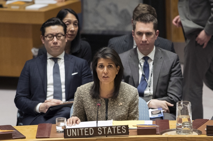 FILE - In this Nov. 29, 2017, file photo, Nikki Haley, U.S. ambassador to the United Nations, speaks during a Security Council meeting on the situation in North Korea, at United Nations headquarters. The U.S. Olympic Committee still plans on bringing teams to the Pyeongchang Games in February despite U.N. Ambassador Nikki Haley casting doubt on U.S. participation. In an interview Wednesday, Dec. 6, 2017, with Fox News Channel, Haley was asked if it's an open question about whether the U.S. team will compete at the Olympics in South Korea, given the tensions on the Korean Peninsula. (AP Photo/Mary Altaffer, File)