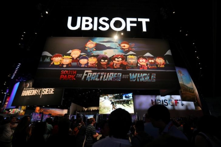 FILE PHOTO - The Ubisoft booth is shown at the E3 2017 Electronic Entertainment Expo in Los Angeles, California, U.S. June 13, 2017.  REUTERS/ Mike Blake