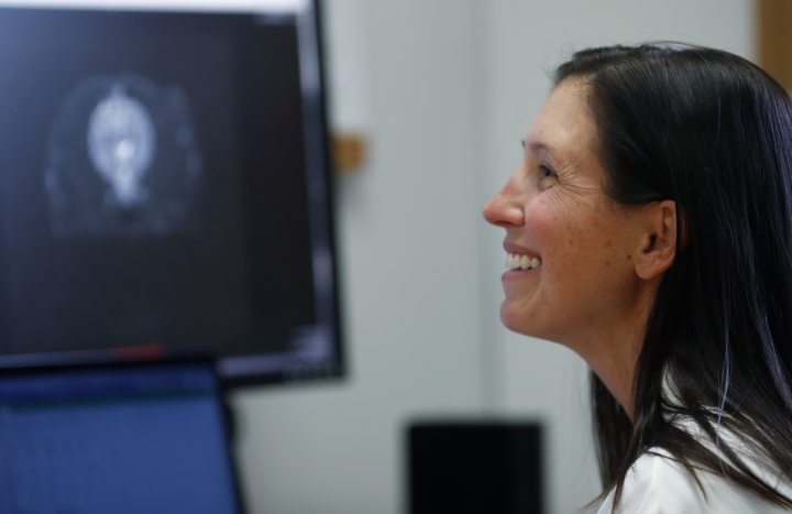 In this Monday, Nov. 6, 2017, photo, Dr. Stephanie McGrath checks over the scan of a dog enrolled in a study that she is leading to see the efficacy of CBD oil in the treating of dogs with epilepsy at Colorado State University in Fort Collins, Colo. McGrath said she hopes the results will be a stepping stone for longer and more diverse studies, and that they provide useful information for human medicine. (AP Photo/David Zalubowski)