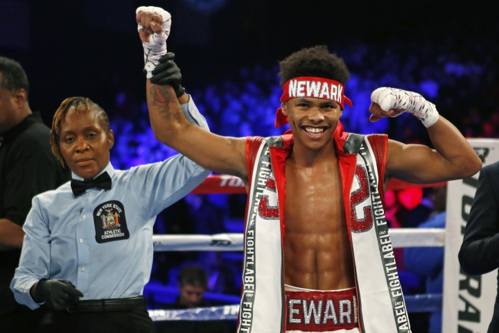 Shakur Stevenson celebrates after defeating Oscar Mendoza during a featherweight boxing match Saturday, Dec. 9, 2017, in New York. (AP Photo/Adam Hunger)