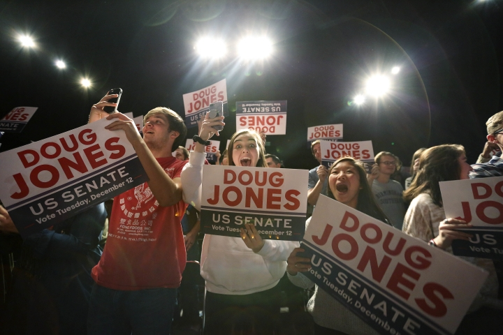 "Supporters of Democratic senatorial candidate Doug Jones cheer as he comes onstage before he speaks during a ""get out the vote rally,"" Saturday, Dec. 9, 2017, in Birmingham, Ala. (AP Photo/Brynn Anderson)"