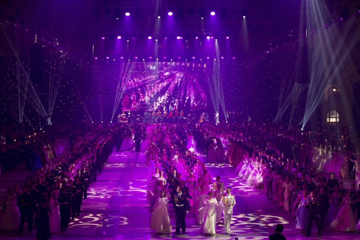 Military school students walk out during their annual ball in Moscow, Russia, Tuesday, Dec. 12, 2017. The ball attracts the youth from all over Russia. (AP Photo/Alexander Zemlianichenko)