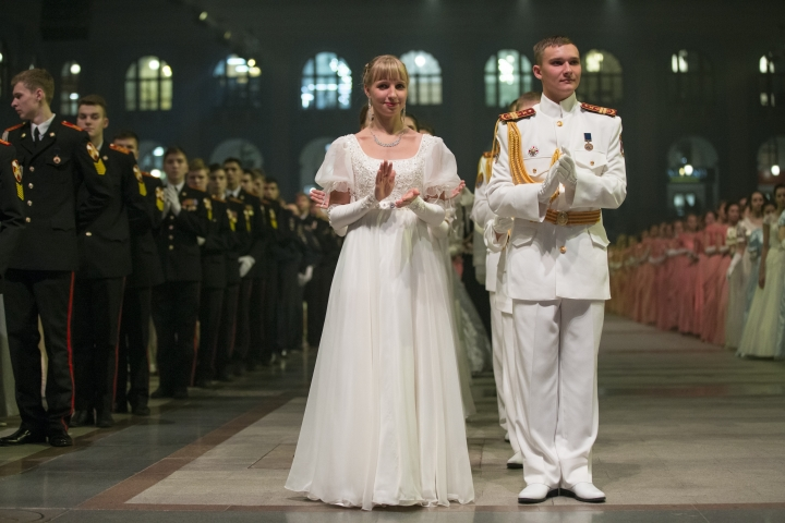 Military school students applaud after dancing during their annual ball in Moscow, Russia, Tuesday, Dec. 12, 2017. The ball attracts the youth from all over Russia. (AP Photo/Alexander Zemlianichenko)