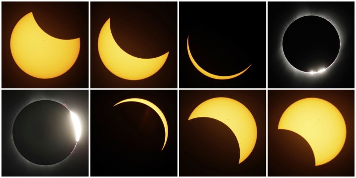 FILE - This Monday, Aug. 21, 2017, file photo combo shows the path of the sun during a total eclipse by the moon, near Redmond, Ore. The eclipse was one of the top searches on Google in 2017. (AP Photo/Ted S. Warren, File)