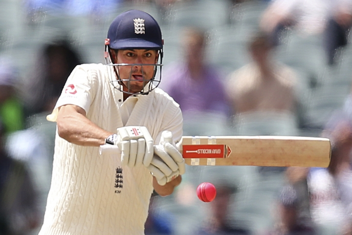 In this Monday, Dec. 4, 2017, photo, England's Alastair Cook plays at an Australian delivery during the third day of their Ashes cricket test match in Adelaide, Australia. Cook, who was England captain in 59 tests until December last year has been below form so far on the Ashes tour. (AP Photo/Rick Rycroft)