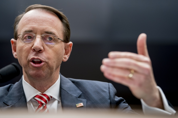 Deputy Attorney General Rod Rosenstein speaks before a House Committee on the Judiciary oversight hearing on Capitol Hill, Wednesday, Dec. 13, 2017 in Washington. A day after hundreds of text messages between two FBI officials on the special counsel's Russia investigation revealed a strong anti-Trump bias, the Deputy Attorney General Rob Rosenstein appears on the Hill. (AP Photo/Andrew Harnik)