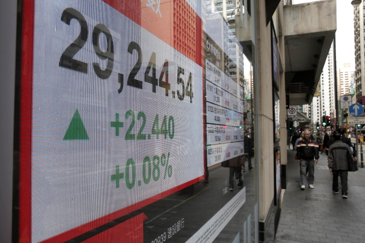 An electronic stock board shows the Hang Seng Index at a bank in Hong Kong, Thursday, Dec. 14, 2017. Asian stocks were mixed on Thursday after the Fed raised rates again, meeting investor expectations but providing few surprises. (AP Photo/Kin Cheung)