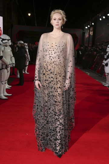 Actress Gwendoline Christie poses for photographers upon arrival at the premiere of the film 'Star Wars: The Last Jedi' in London, Tuesday, Dec. 12th, 2017. (Photo by Joel C Ryan/Invision/AP)