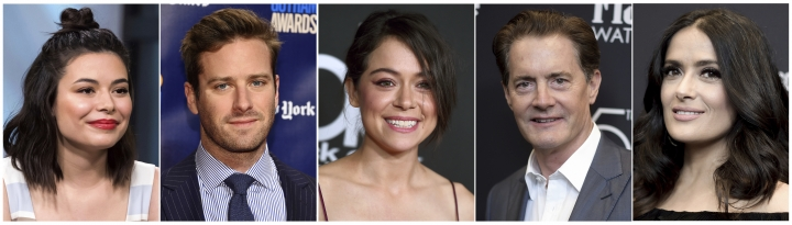 This combination photo shows, from left, Miranda Cosgrove, Armie Hammer, Tatiana Maslany, Kyle MacLachlan and Salma Hayek, who have shared details of their holiday traditions with The Associated Press. (AP Photo/File)