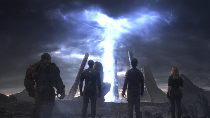 "FILE - This file photo provided by Twentieth Century Fox shows, The Thing, from left, Michael B. Jordan as Johnny Storm, Miles Teller as Dr. Reed Richards, and Kate Mara as Sue Storm, in a scene from the film, ""Fantastic Four."" Disney's announcement Thursday, Dec. 14, 2017, that it's buying most of movie goliath Fox for $52.4 billion in stock brings these once disparate franchises together. The combined company will account for more than a third of theatrical revenues in the U.S. and Canada. (Twentieth Century Fox via AP, File)"