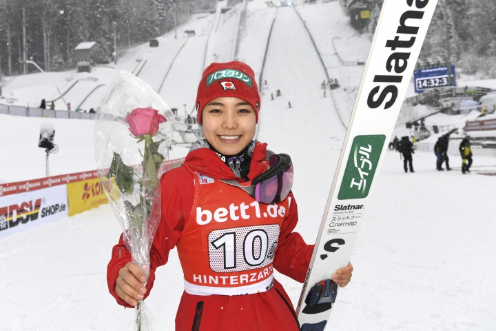Japan's ski Sara Takanashi celebrates after winning the team event at the Ladies' ski jumping World Cup in Hinterzarten. Germany, Saturday, Dec. 16, 2017. (Felix Kaestle/dpa via AP)