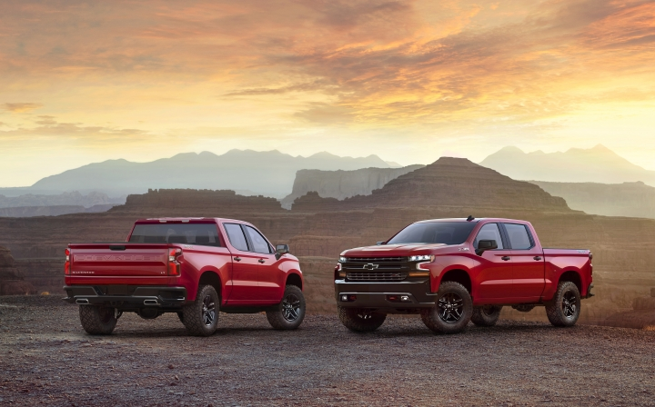 This photo provided by General Motors Co. shows the 2019 Chevrolet Silverado. GM is showing of the all-new version of the Chevrolet Silverado pickup at an event in Dallas, Saturday, Dec. 16, 2017.(Courtesy of General Motors Co. via AP)