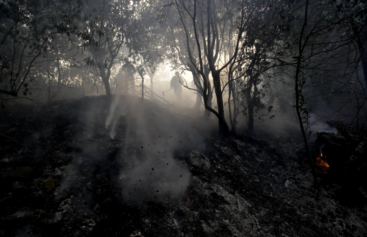 Firefighters work to put out hot spots while battling a wildfire Saturday, Dec. 16, 2017, in Montecito, Calif. (AP Photo/Chris Carlson)