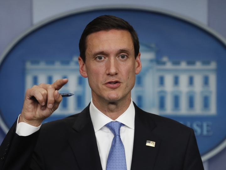 FILE - In this Sept. 11, 2017, file photo, White House homeland security adviser Tom Bossert speaks during the daily news briefing at the White House, in Washington. Trump's administration is publicly blaming North Korea for a ransomware attack that infected hundreds of thousands of computers worldwide in May and crippled parts of Britain's National Health Service. (AP Photo/Carolyn Kaster, File)