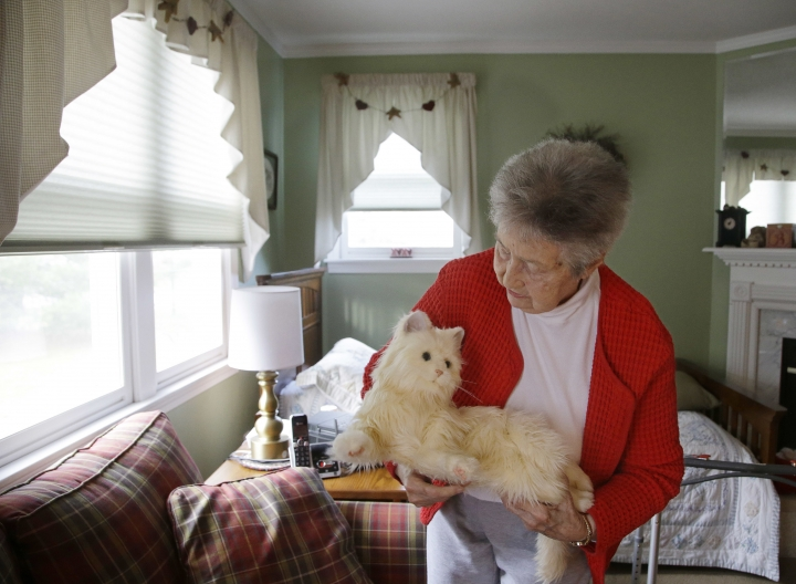 "In this Dec. 1, 2017, photo, 93-year-old Mary Derr holds her robot cat she calls ""Buddy"" as she talks to it in her home she shares with her daughter Jeanne Elliott in South Kingstown, R.I. Derr has mild dementia, and Elliott purchased a ""Joy for All"" robotic cat earlier this year to keep her mother company. (AP Photo/Stephan Savoia)"