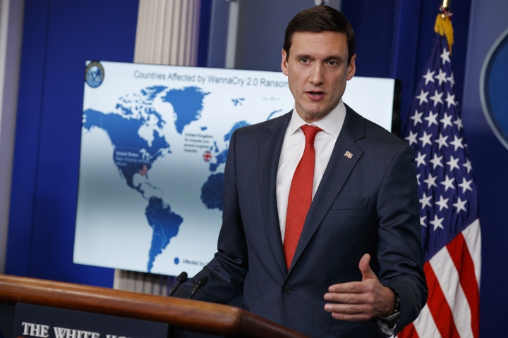 White House Homeland Security Adviser Tom Bossert speaks during a briefing blaming North Korea for a ransomware attack that infected hundreds of thousands of computers worldwide in May and crippled parts of Britain's National Health Service, at the White House, Tuesday, Dec. 19, 2017, in Washington. (AP Photo/Evan Vucci)