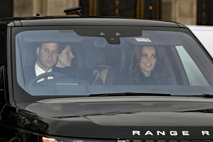 Britain's Prince William and Kate, Duchess of Cambridge arrive for the Queen's Christmas lunch at Buckingham Palace, London, Wednesday Dec. 20, 2017. (Jonathan Brady/PA via AP)