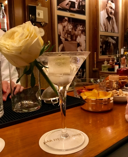 """In this Sept. 15, 2017 photo, The """"clear"""" dirty martini is shown and is a signature drink at Bar Hemingway at the Paris Ritz. Hemingway and other notable figures of Paris in the early 20th century are said to have drunk here. (Michelle Locke via AP)"""