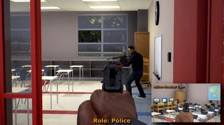 This undated frame the video shows video game play footage of a mass shooting simulation. The game designers listened to real dispatch tapes to understand the dynamics of such situations, as part a $5.6 U.S. million government-funded program known as the Enhanced Dynamic Geo-Social Environment. (Cole Engineering services, Inc., via AP)