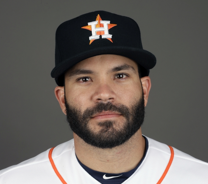 FILE - This 2017 file photo shows Jose Altuve of the Houston Astros baseball team. Altuve was named The Associated Press Male Athlete of the Year on Wednesday, Dec. 27, 2017. (AP Photo/David J. Phillip, File)