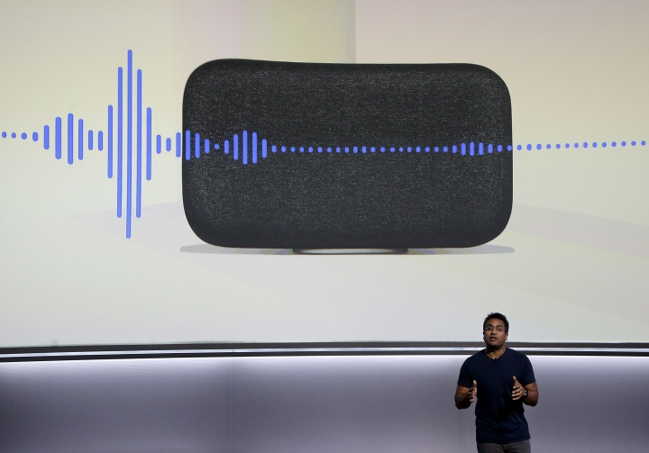 FILE - In this Wednesday, Oct. 4, 2017, file photo, Google's Rishi Chandra speaks about the Google Home Max speaker at a Google event in San Francisco,. Once people get their first smart product, they are likely to buy more. They also tell friends and neighbors about them, or perhaps buy some as gifts. (AP Photo/Jeff Chiu, File)
