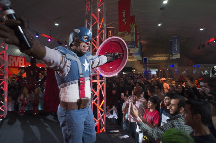 FILE - In this Friday, Feb. 17, 2017, file photo, a man wears a Captain America costume representing a fictional superhero appearing in American comic books published by Marvel Comics, during the Saudi Comic Con (SCC) which is the first event of its kind to be held in Jiddah, Saudi Arabia. This past year, Saudi Arabia laid the groundwork for momentous change next year in the conservative kingdom, defying its own reputation for slow-paced, cautious reforms. (AP Photo, File)
